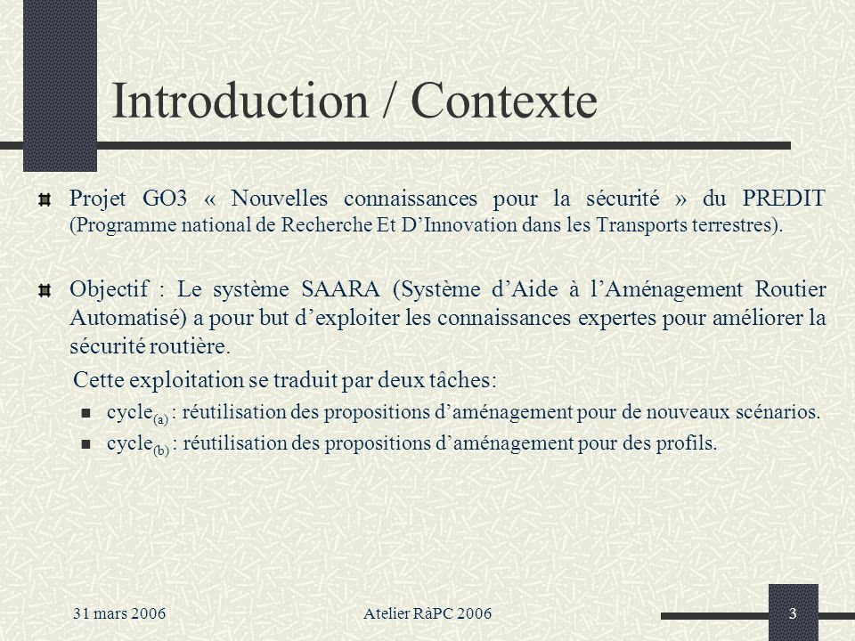 Introduction / Contexte