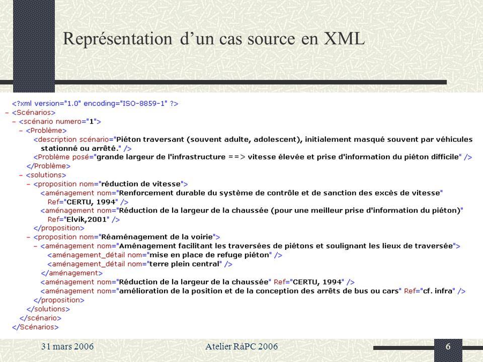 Représentation d'un cas source en XML