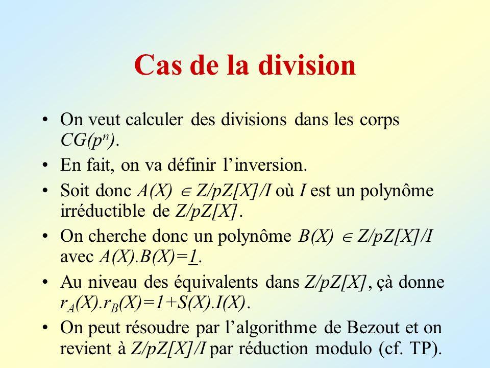Cas de la division On veut calculer des divisions dans les corps CG(pn). En fait, on va définir l'inversion.
