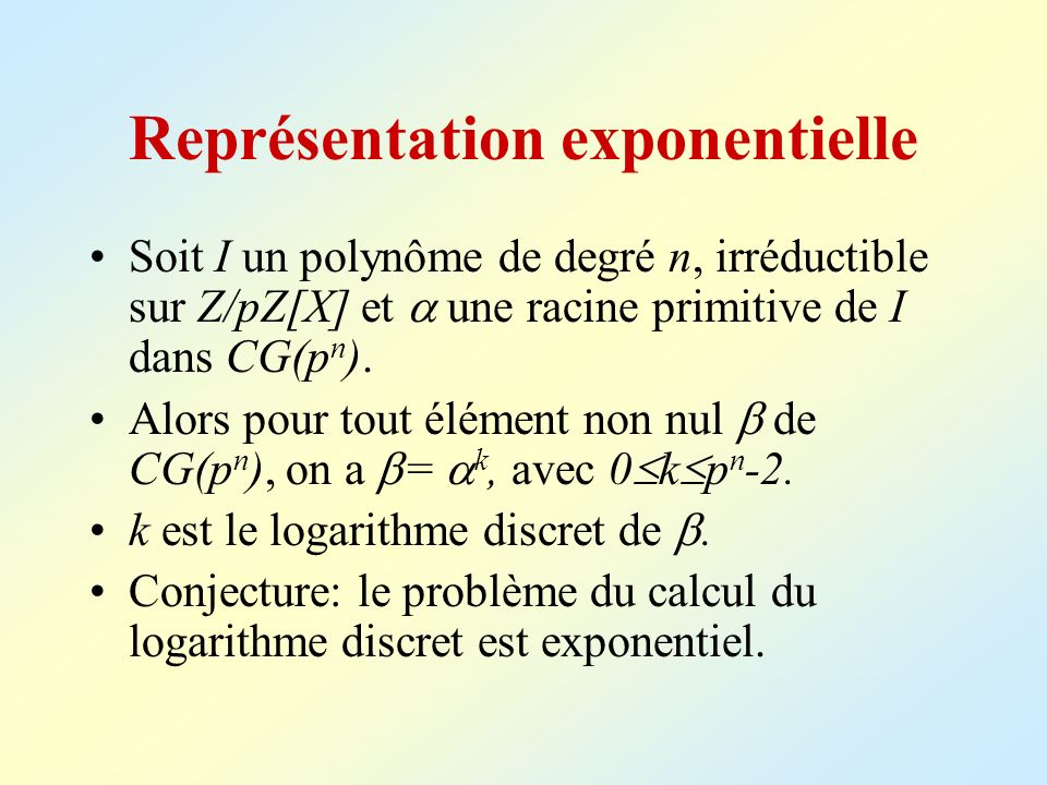 Représentation exponentielle