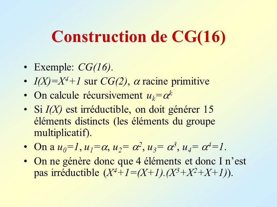 Construction de CG(16) Exemple: CG(16).
