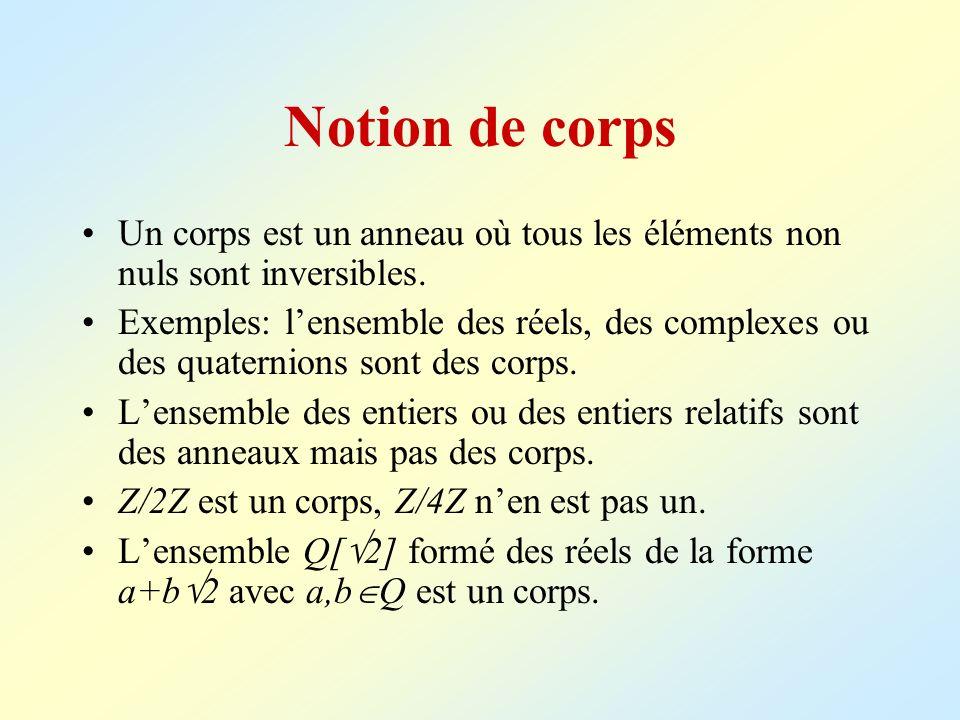 Notion de corpsUn corps est un anneau où tous les éléments non nuls sont inversibles.