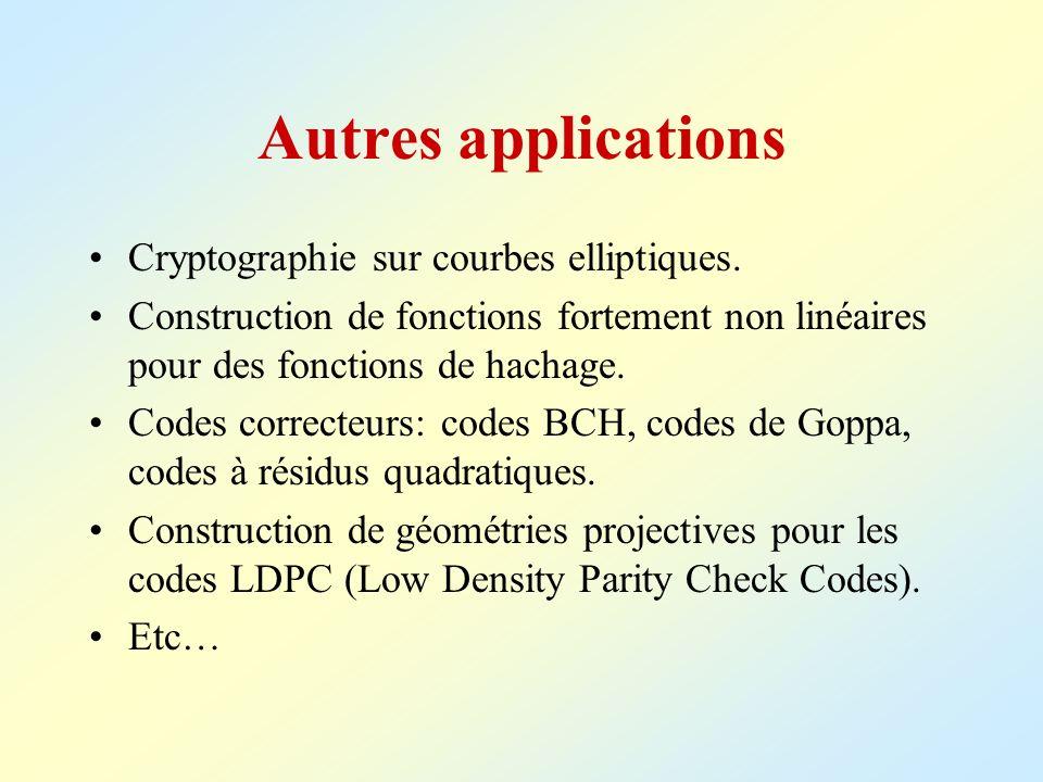 Autres applications Cryptographie sur courbes elliptiques.