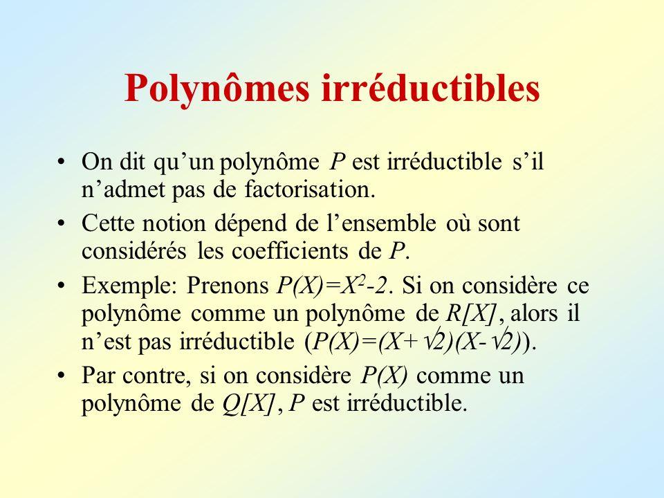 Polynômes irréductibles