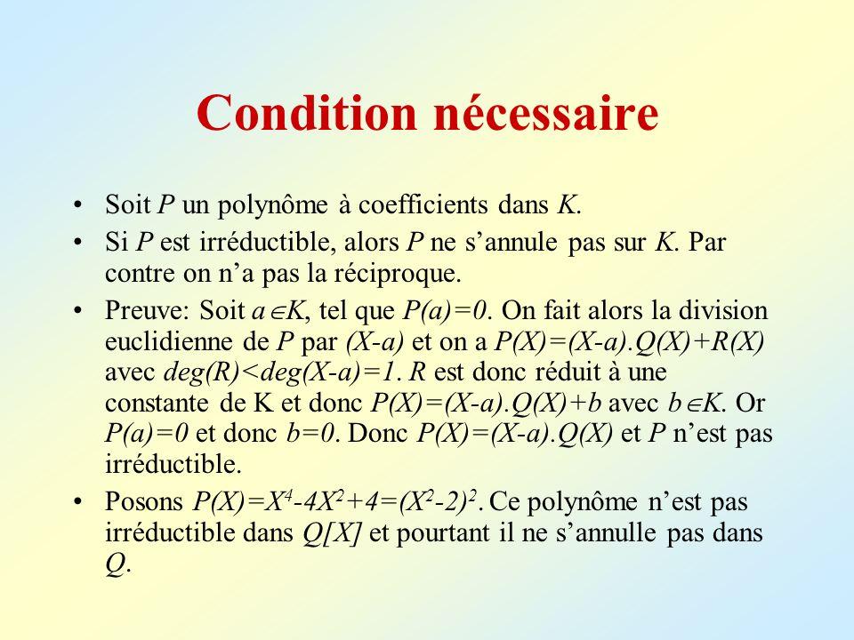 Condition nécessaire Soit P un polynôme à coefficients dans K.