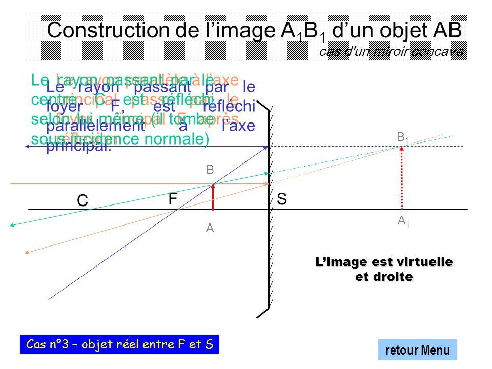 Construction de l'image A1B1 d'un objet AB cas d un miroir concave