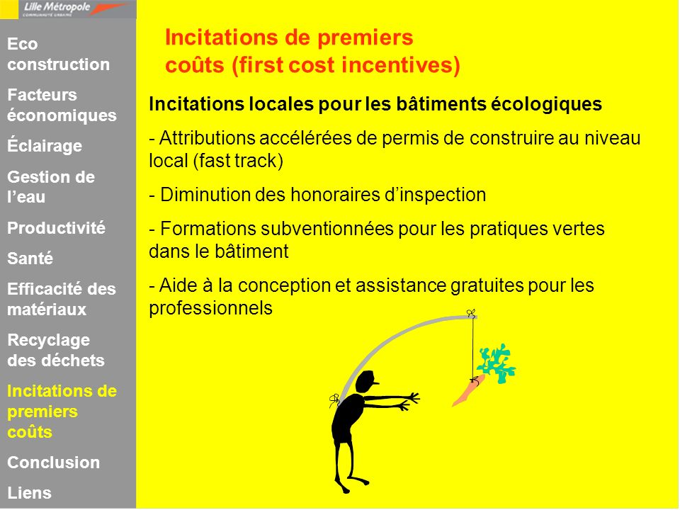 Incitations de premiers coûts (first cost incentives)