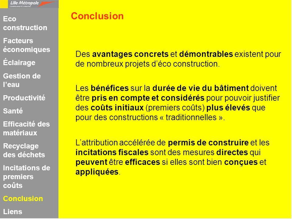 Conclusion Eco construction. Facteurs économiques. Éclairage. Gestion de l'eau. Productivité. Santé.