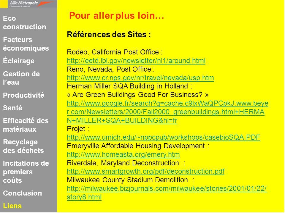 Pour aller plus loin… Références des Sites : Eco construction