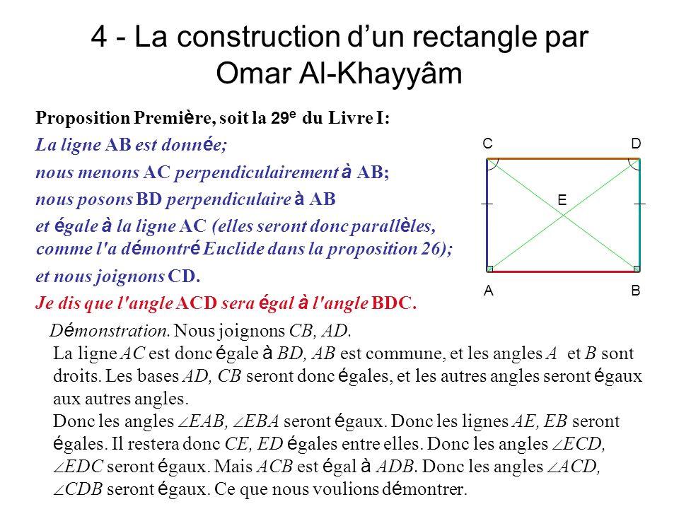 4 - La construction d'un rectangle par Omar Al-Khayyâm