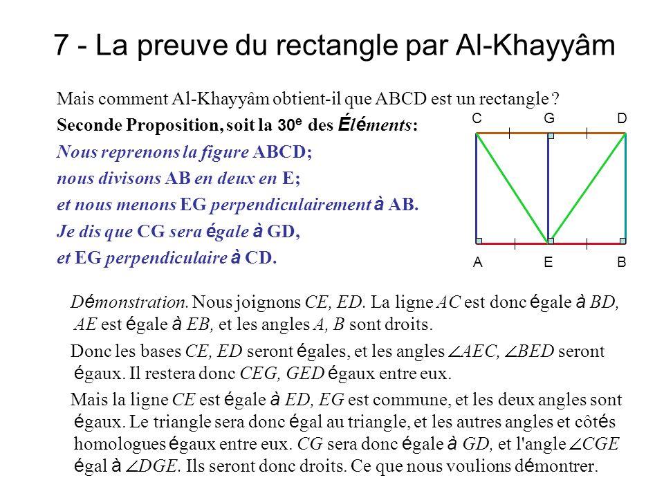 7 - La preuve du rectangle par Al-Khayyâm