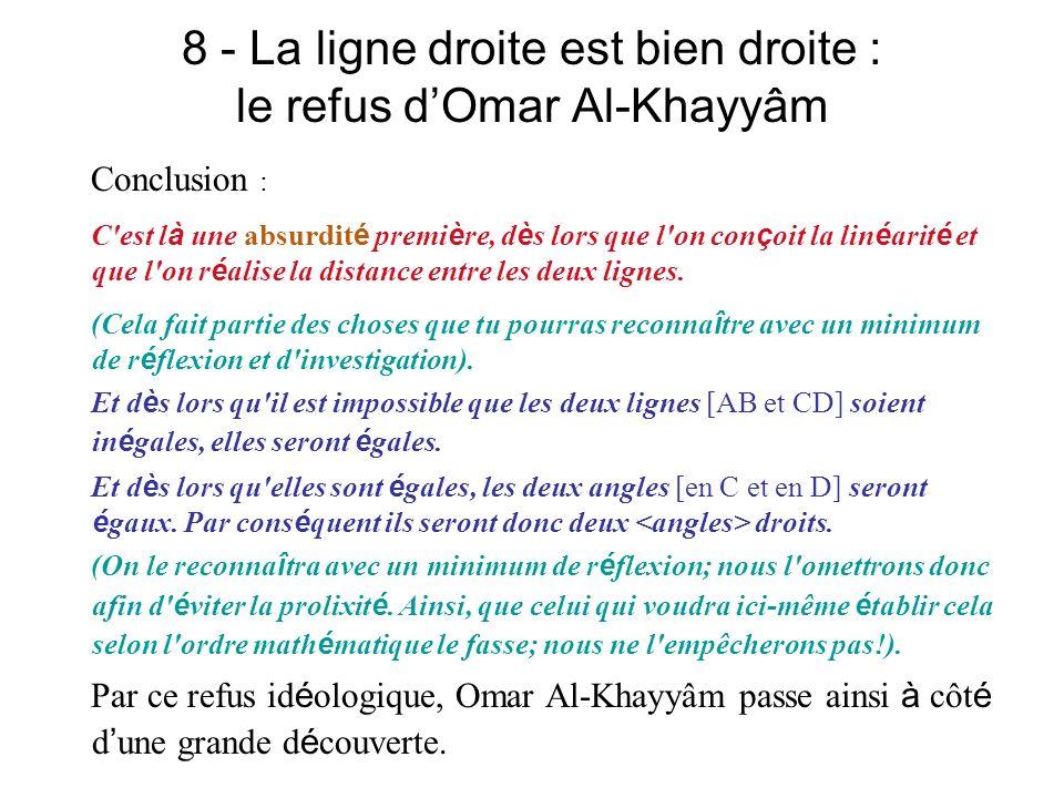 8 - La ligne droite est bien droite : le refus d'Omar Al-Khayyâm