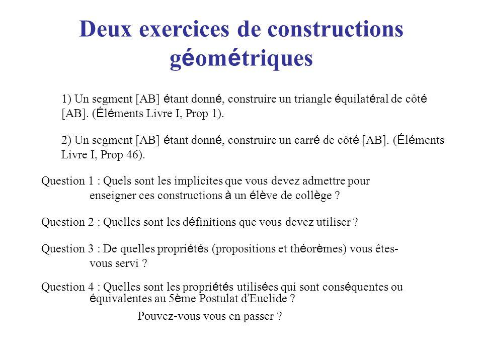 Deux exercices de constructions géométriques