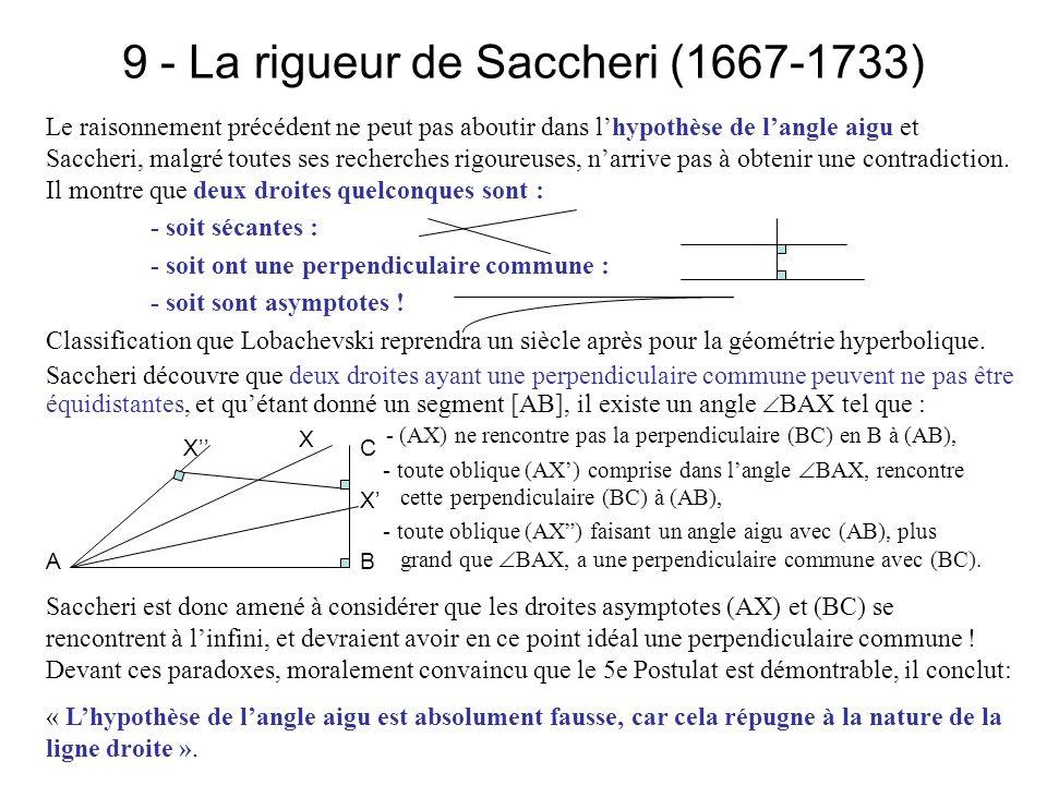 9 - La rigueur de Saccheri (1667-1733)