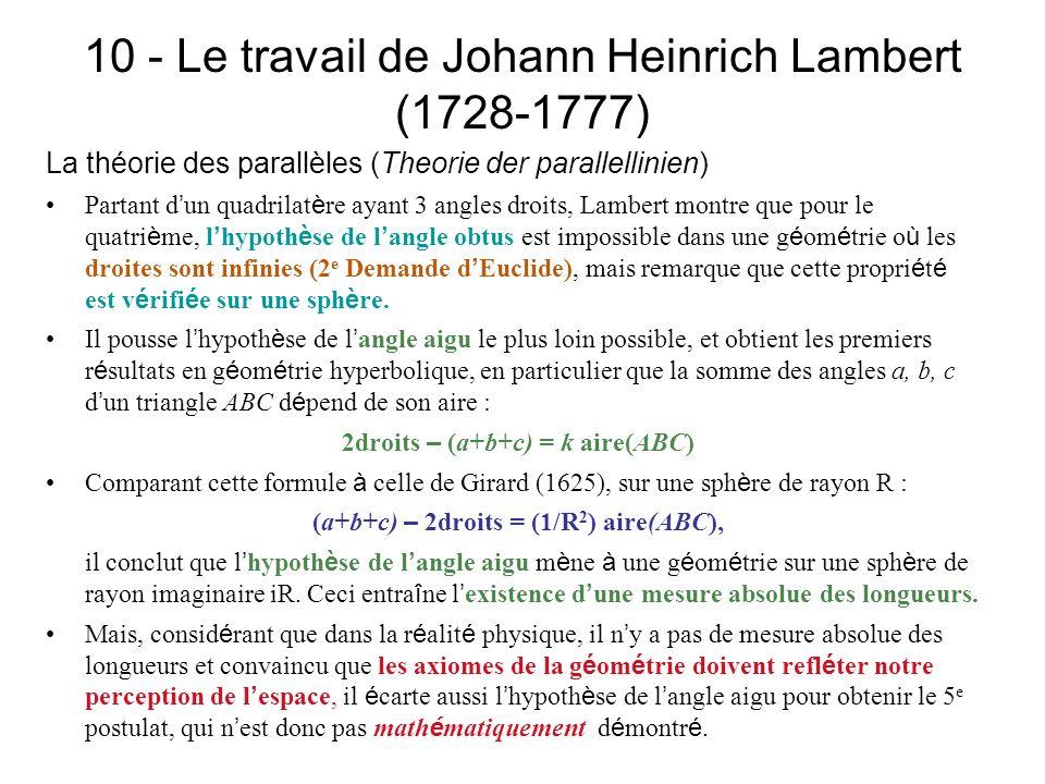 10 - Le travail de Johann Heinrich Lambert (1728-1777)