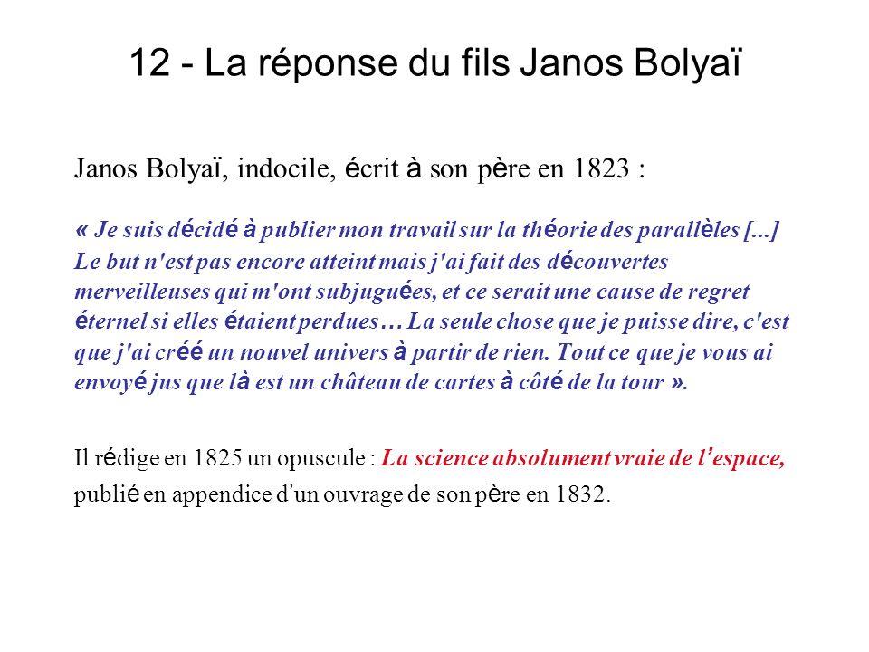 12 - La réponse du fils Janos Bolyaï