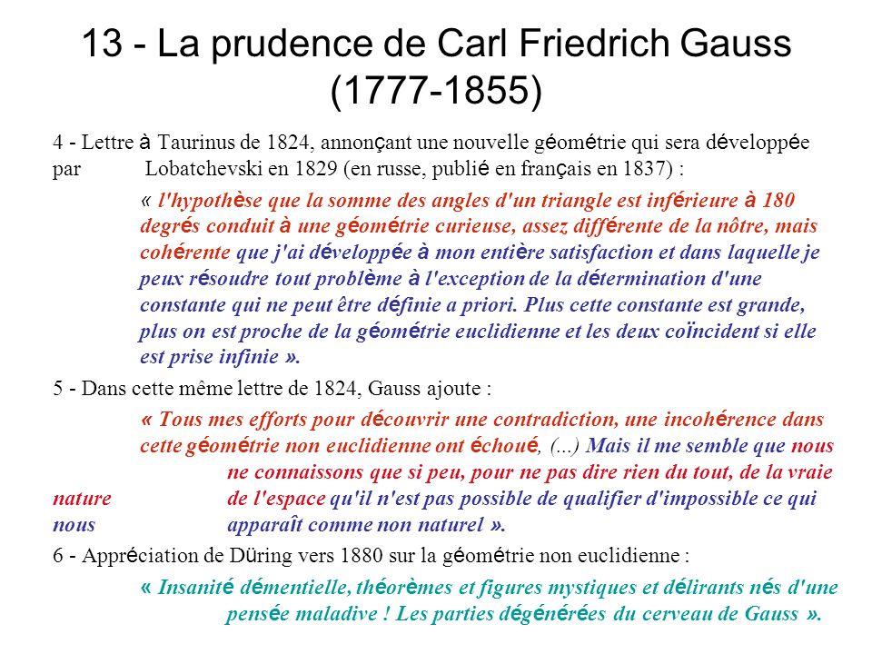 13 - La prudence de Carl Friedrich Gauss (1777-1855)