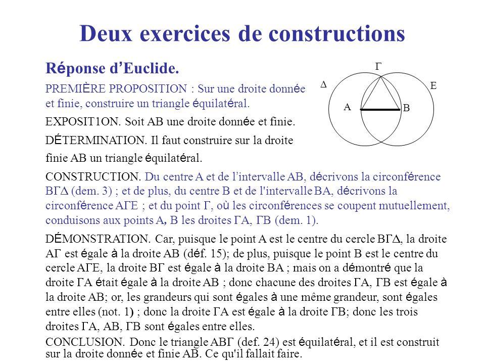 Deux exercices de constructions