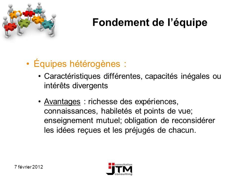Fondement de l'équipe Équipes hétérogènes :