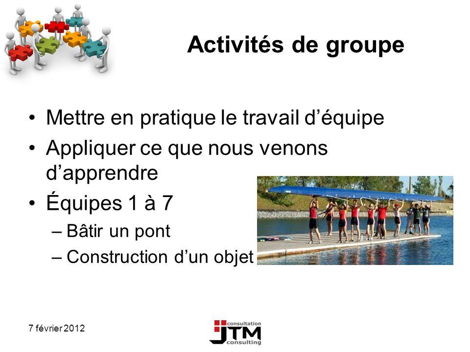 Activités de groupe Mettre en pratique le travail d'équipe