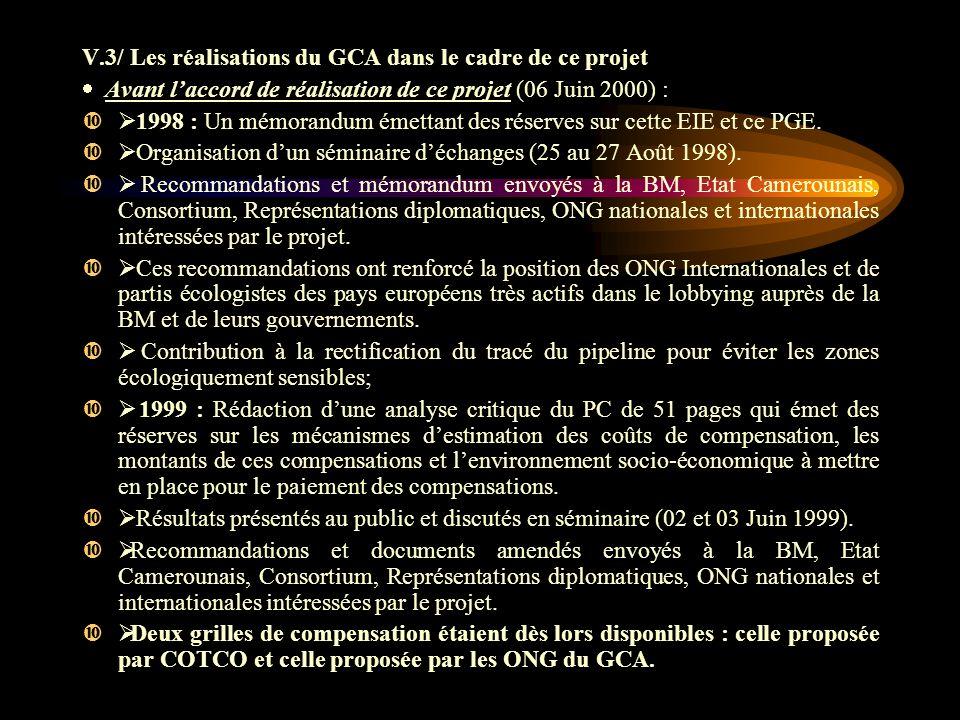 V.3/ Les réalisations du GCA dans le cadre de ce projet