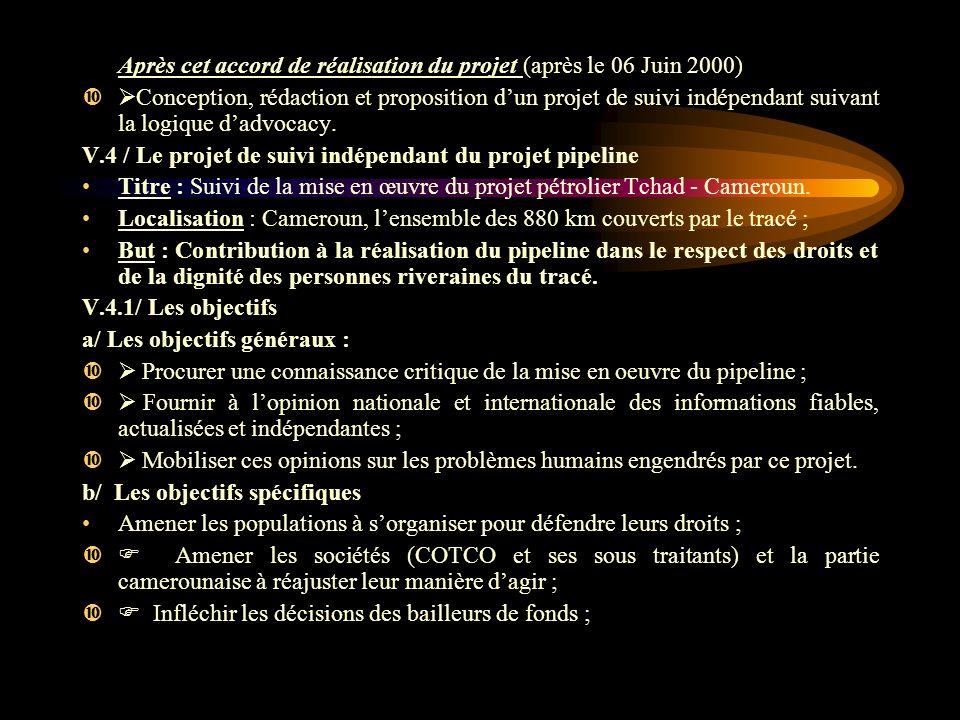 Après cet accord de réalisation du projet (après le 06 Juin 2000)