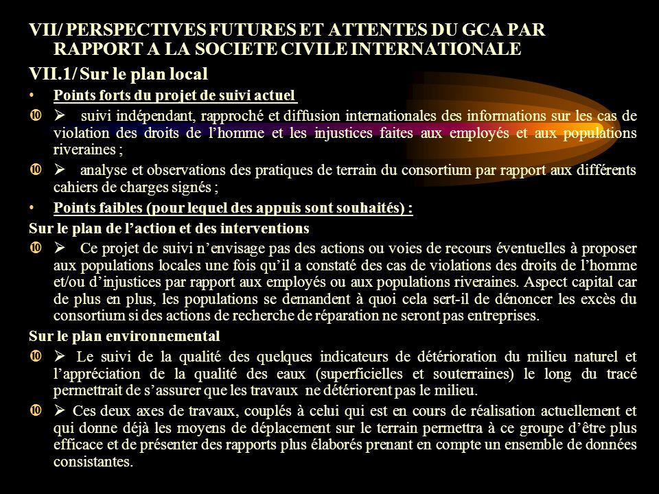 VII/ PERSPECTIVES FUTURES ET ATTENTES DU GCA PAR RAPPORT A LA SOCIETE CIVILE INTERNATIONALE