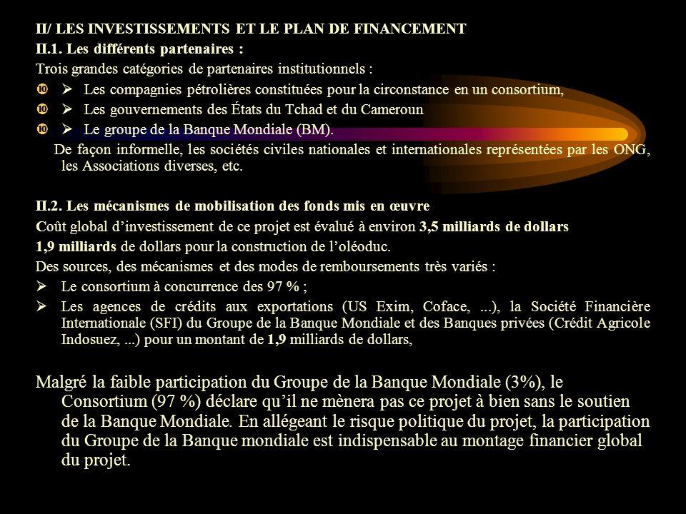 II/ LES INVESTISSEMENTS ET LE PLAN DE FINANCEMENT