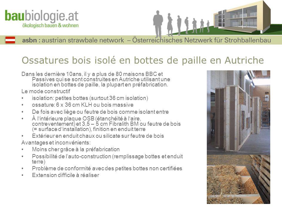 Ossatures bois isolé en bottes de paille en Autriche