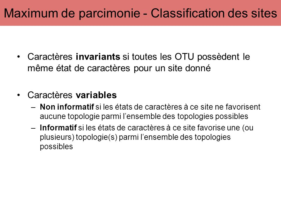 Maximum de parcimonie - Classification des sites