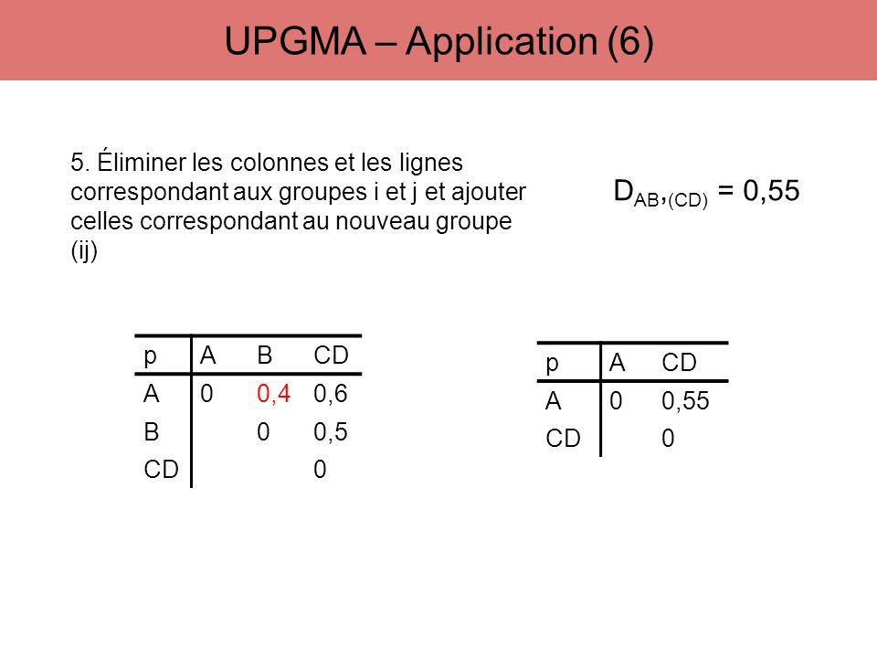 UPGMA – Application (6) DAB,(CD) = 0,55