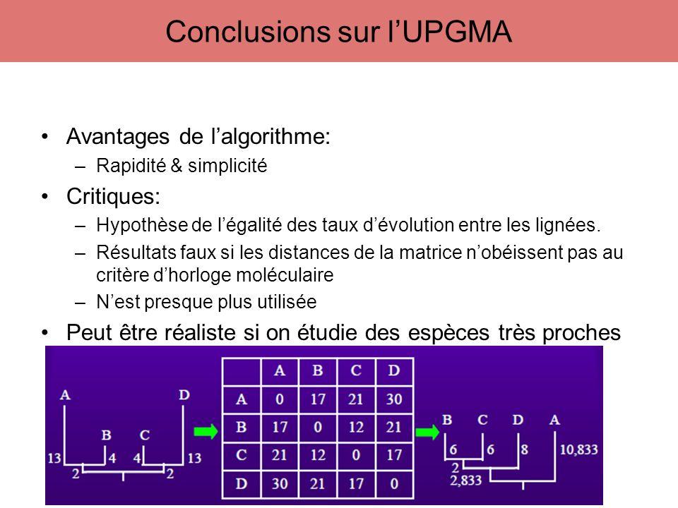Conclusions sur l'UPGMA