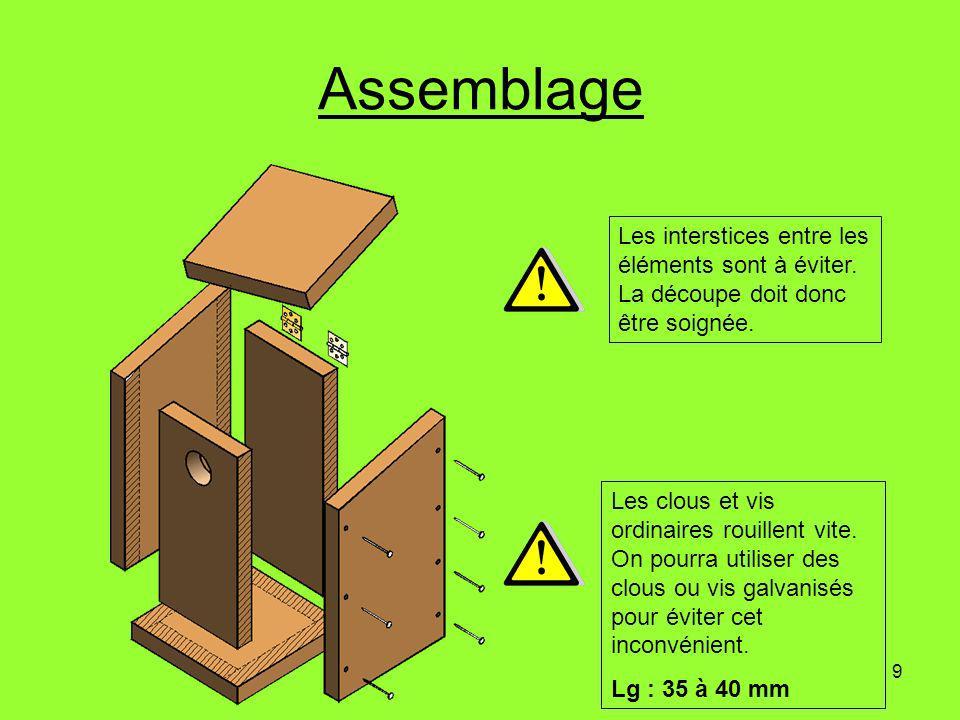 Assemblage Les interstices entre les éléments sont à éviter. La découpe doit donc être soignée.