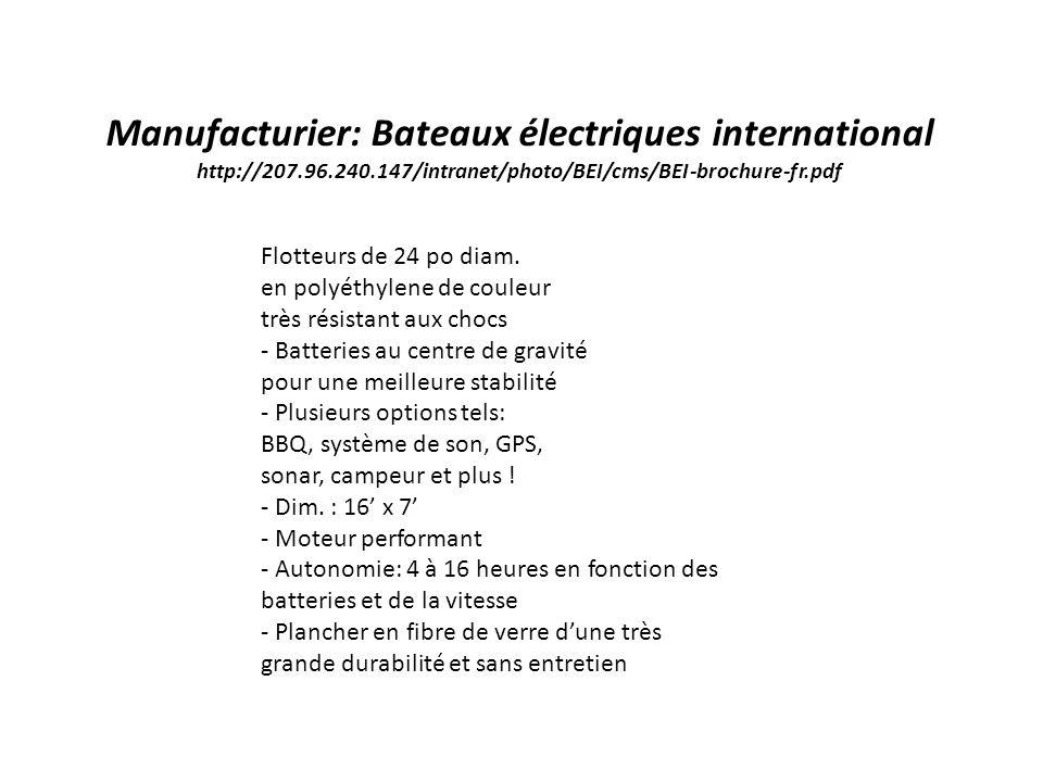 Manufacturier: Bateaux électriques international http://207. 96. 240