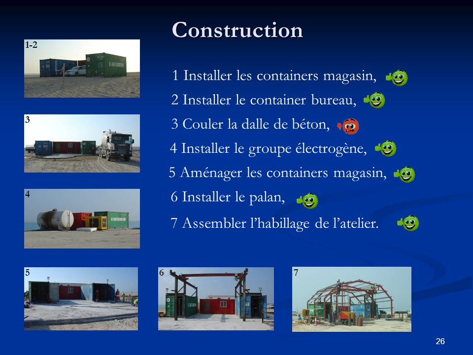 Construction 1 Installer les containers magasin,
