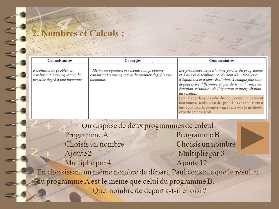 2. Nombres et Calculs : On dispose de deux programmes de calcul :
