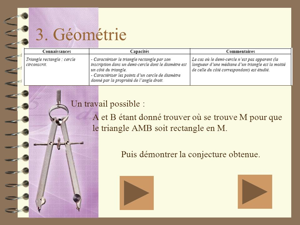 3. Géométrie Un travail possible :