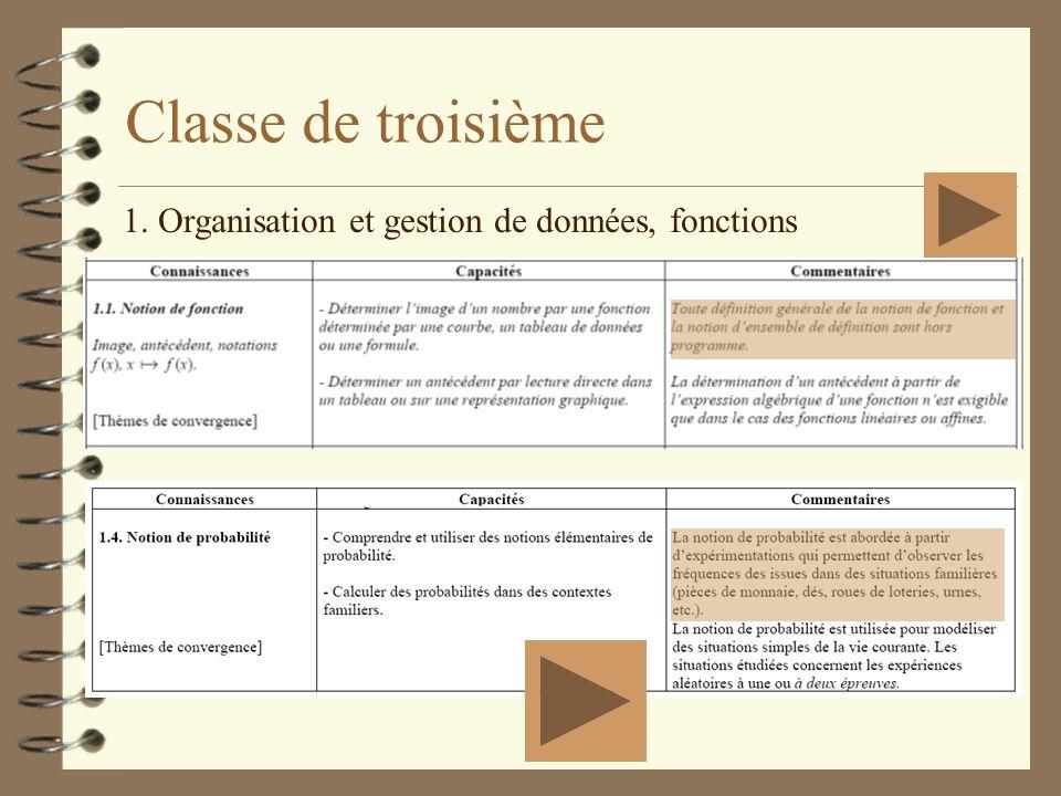 Classe de troisième 1. Organisation et gestion de données, fonctions