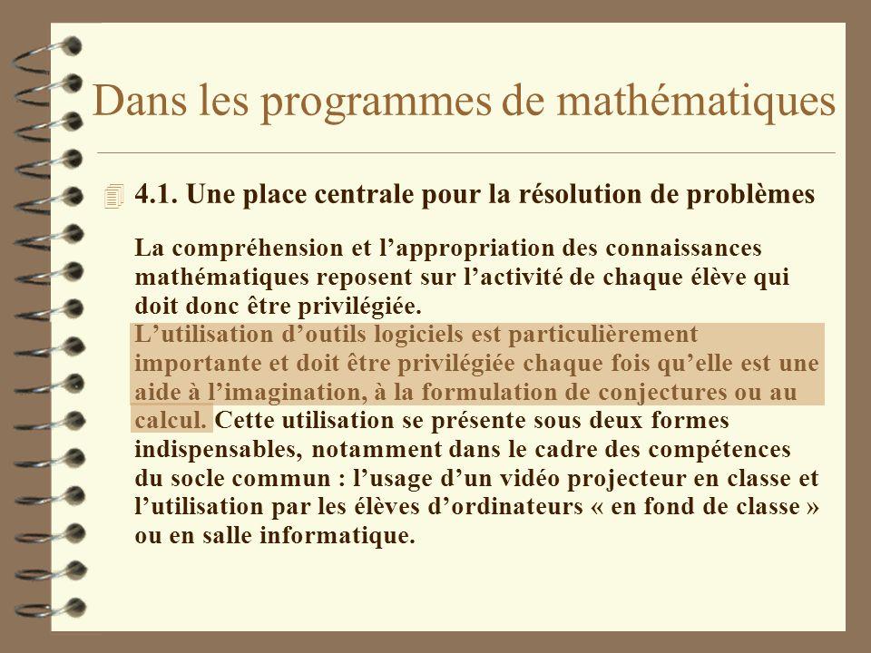 Dans les programmes de mathématiques