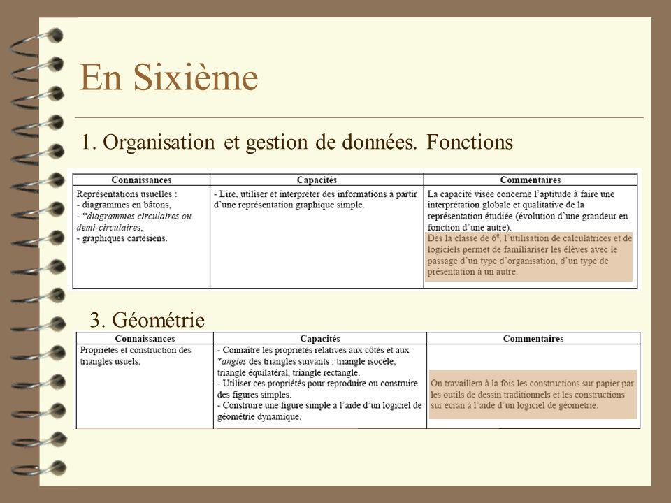 En Sixième 1. Organisation et gestion de données. Fonctions