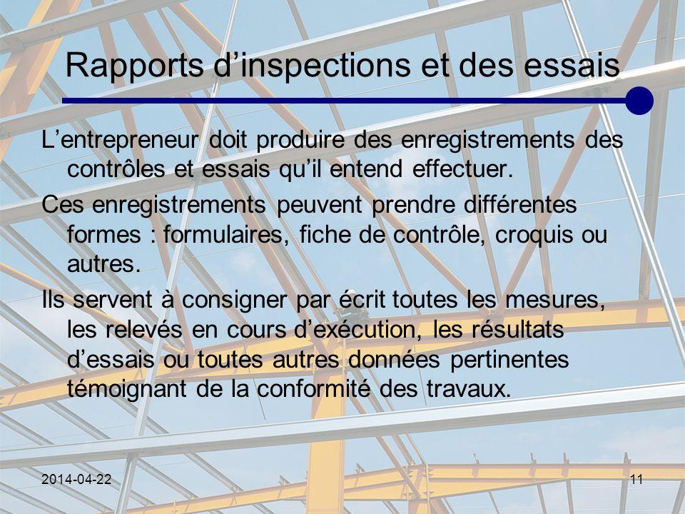 Rapports d'inspections et des essais