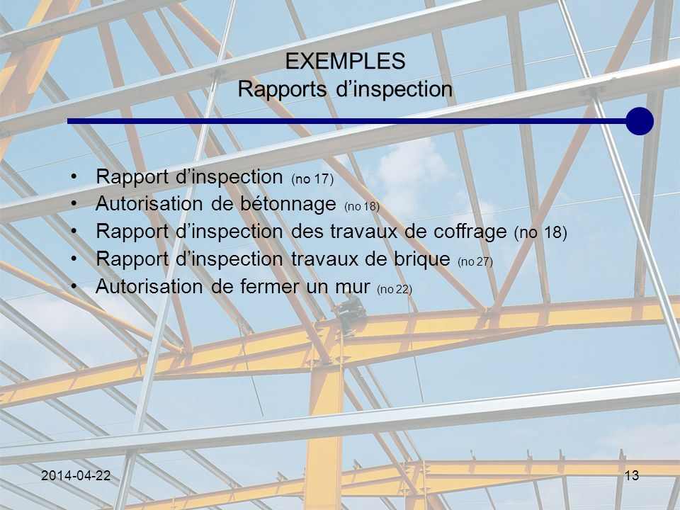 EXEMPLES Rapports d'inspection