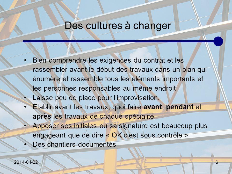 Des cultures à changer