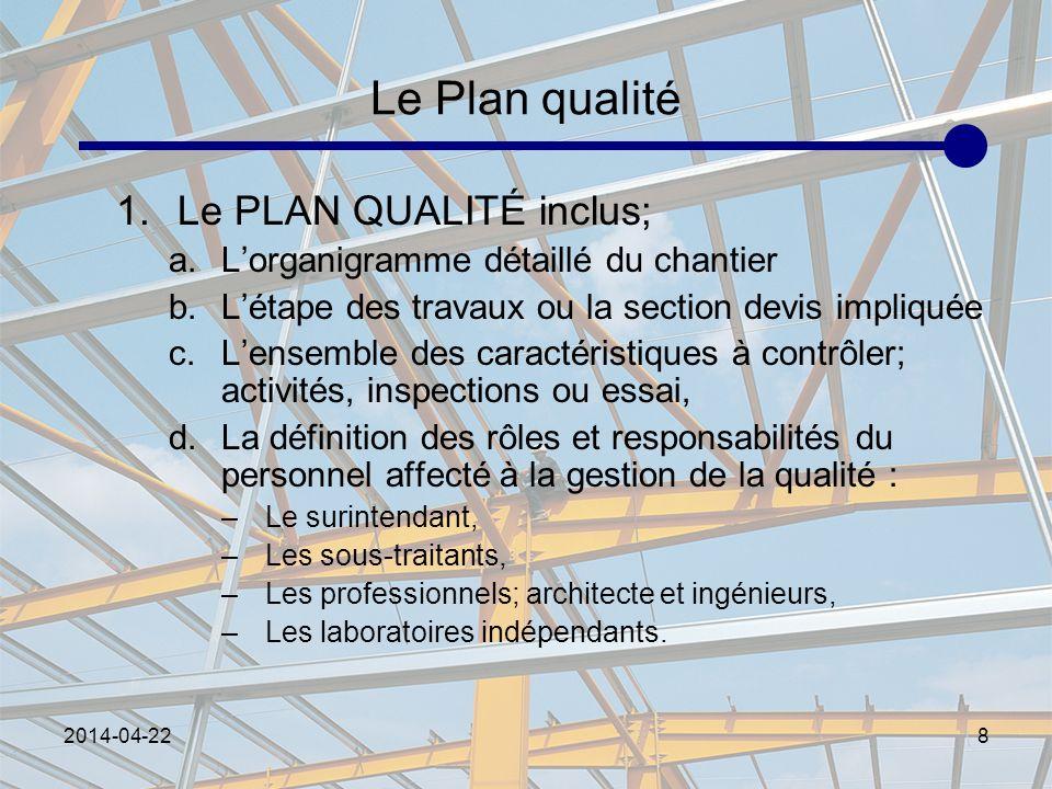 Le Plan qualité Le PLAN QUALITÉ inclus;