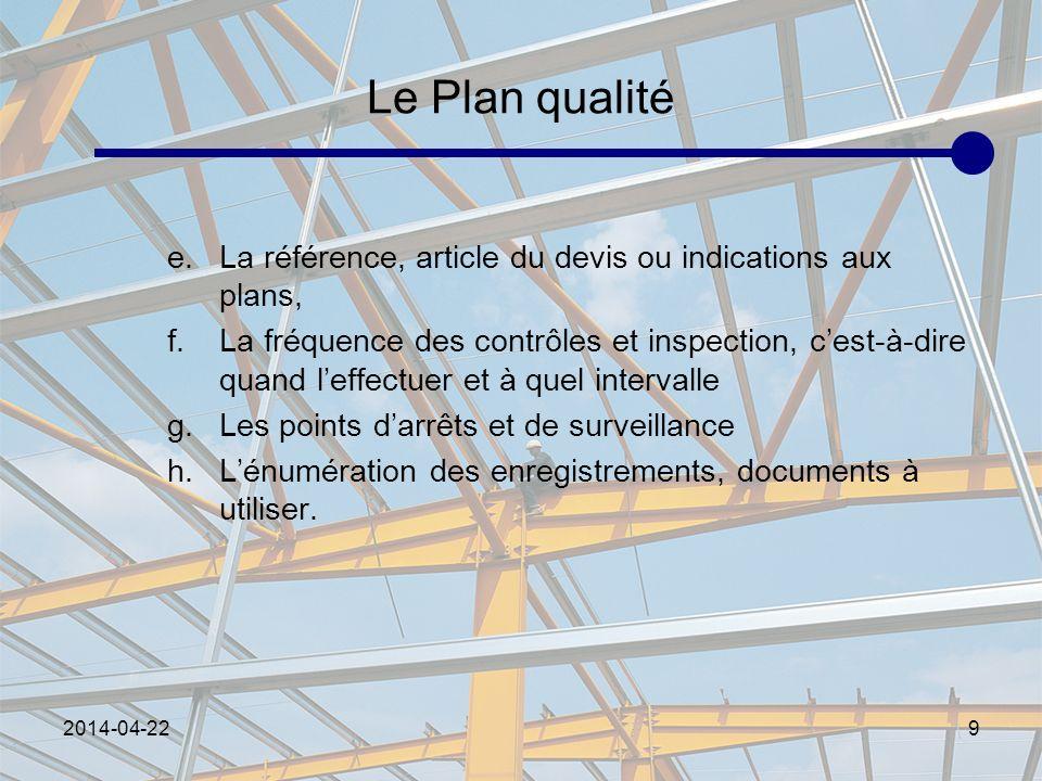 Le Plan qualité La référence, article du devis ou indications aux plans,