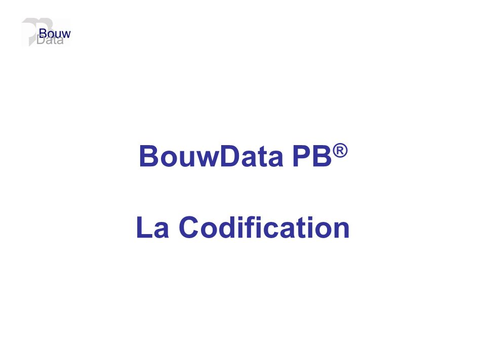 BouwData PB® La Codification