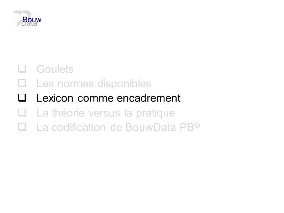 Goulets Les normes disponibles. Lexicon comme encadrement.
