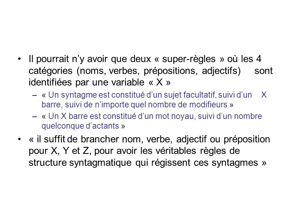 Il pourrait n'y avoir que deux « super-règles » où les 4 catégories (noms, verbes, prépositions, adjectifs) sont identifiées par une variable « X »