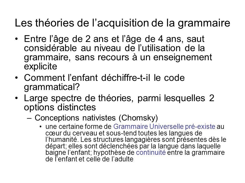 Les théories de l'acquisition de la grammaire