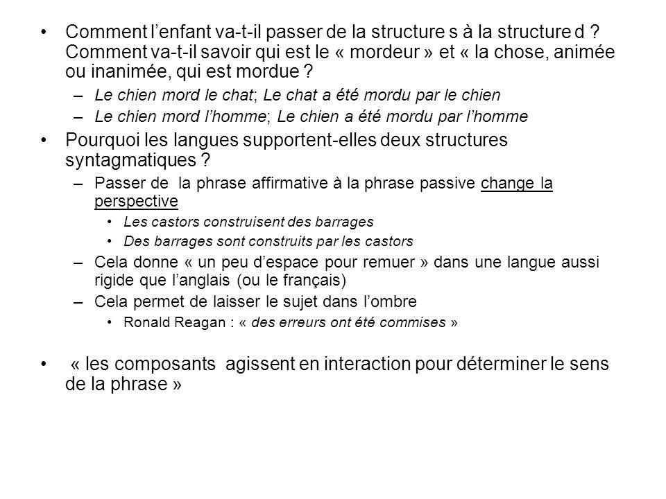 Pourquoi les langues supportent-elles deux structures syntagmatiques